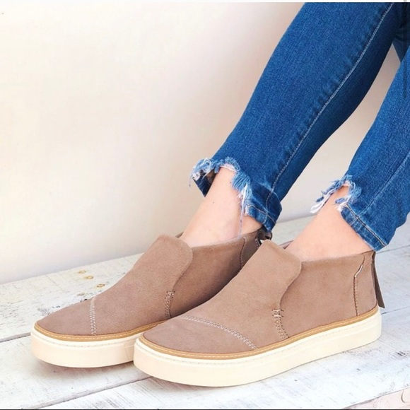 Toms Paxton Slip On Suede Booties Taupe